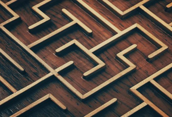 wooden maze view from above