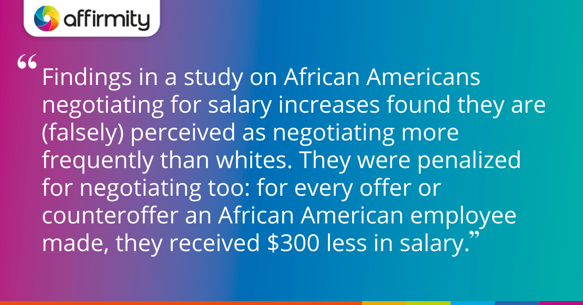 Findings in a study on African Americans negotiating for salary increases found they are (falsely) perceived as negotiating more frequently than whites. They were penalized for negotiating too: for every offer or counteroffer an African American employee made, they received $300 less in salary.