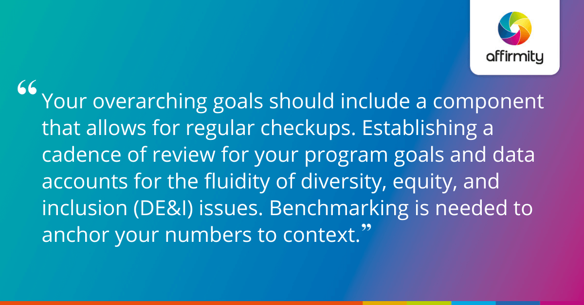 Your overarching goals should include a component that allows for regular checkups. Establishing a cadence of review for your program goals and data accounts for the fluidity of diversity, equity, and inclusion (DE&I) issues. Benchmarking is needed to anchor your numbers to context.