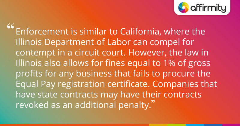 """Enforcement is similar to California, where the Illinois Department of Labor can compel for contempt in a circuit court. However, the law in Illinois also allows for fines equal to 1% of gross profits for any business that fails to procure the Equal Pay registration certificate. Companies that have state contracts may have their contracts revoked as an additional penalty."""