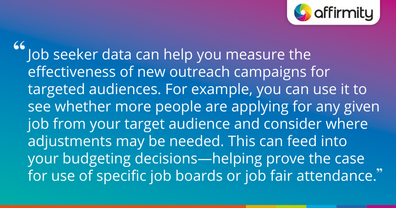 """""""Job seeker data can help you measure the effectiveness of new outreach campaigns for targeted audiences. For example, you can use it to see whether more people are applying for any given job from your target audience and consider where adjustments may be needed. This can feed into your budgeting decisions—helping prove the case for use of specific job boards or job fair attendance."""""""